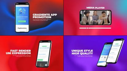 پروژه افترافکت تیزر تبلیغاتی اپلیکیشن با زمینه گرادینت Gradients App Promo