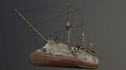 مدل سه بعدی کشتی جنگی Gunboat