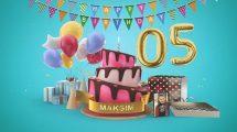 پروژه افترافکت تبریک تولد با کیک Happy Birthday