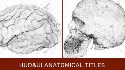 پروژه افترافکت نمایش عناوین با اجزای آناتومی بدن HUD UI Anatomical Titles