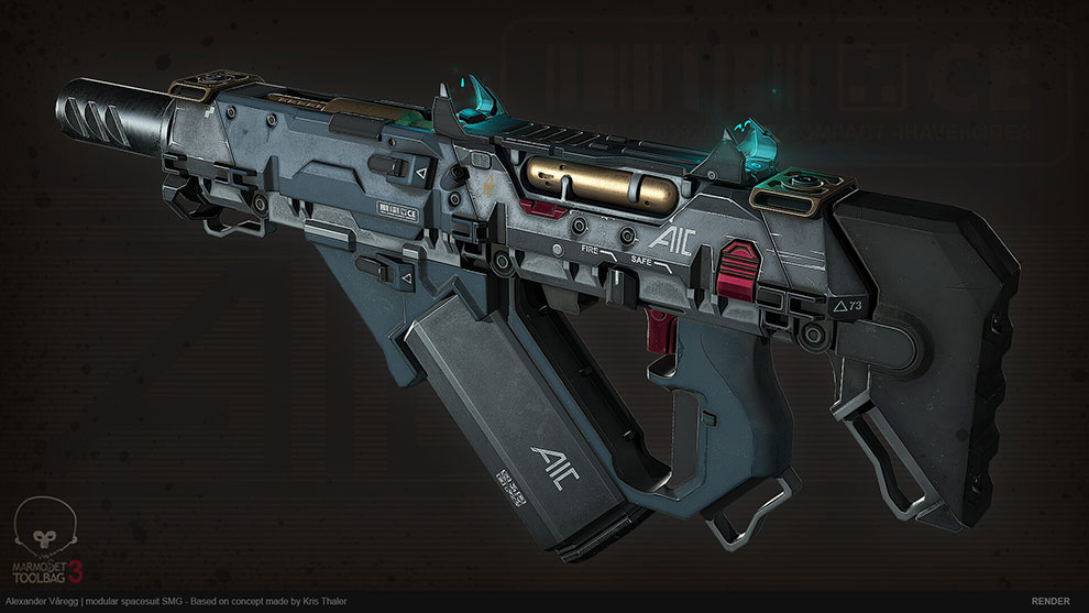 مدل سه بعدی اسلحه پیشرفته Modular SMG 2