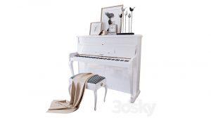 مدل سه بعدی پیانو و صندلی Piano Weinbach
