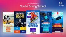 پروژه افترافکت استوری اینستاگرام مدرسه غواصی Scuba Diving School Stories