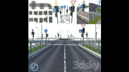 مجموعه مدل سه بعدی اجزای شهری Sections of Road