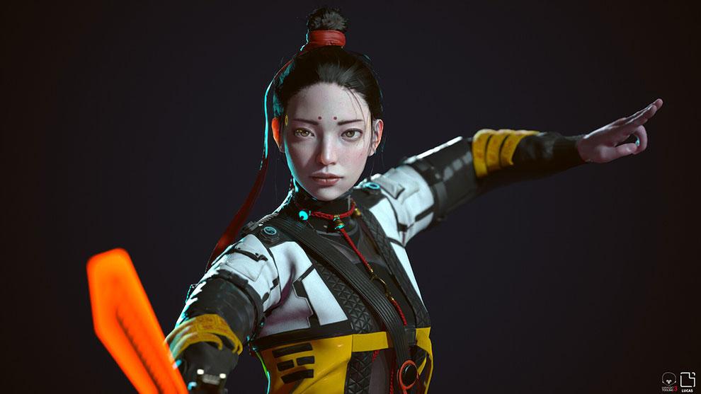 مدل سه بعدی کاراکتر زن پانک Taoist Punk
