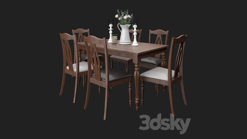 مدل سه بعدی میز و صندلی Upsala Table and Chairs