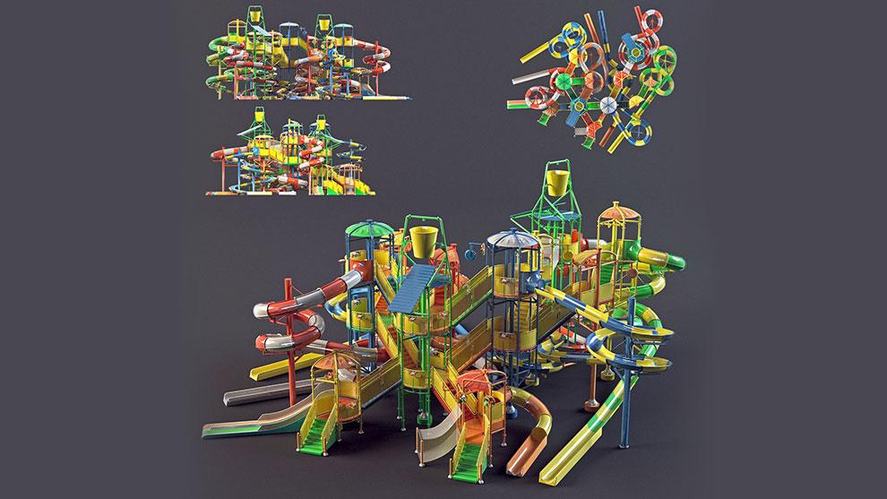 مدل سه بعدی سرسره پارک آبی Water Park Slides 1