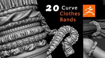 مجموعه براش تای لباس برای زیبراش Clothes Bands Curve Brushes