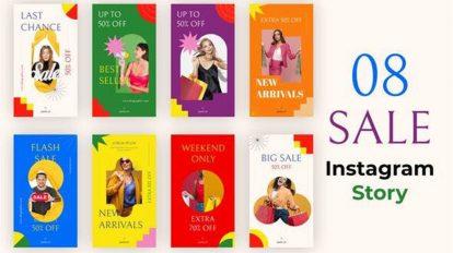 پروژه افترافکت مجموعه استوری اینستاگرام Colorful Sale Instagram Stories