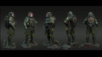 مدل سه بعدی کاراکتر پلیس Machine Gunner