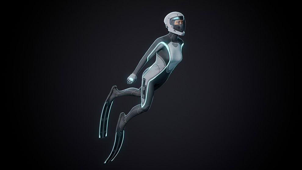 مدل سه بعدی کاراکتر غواص Mirai Dive Suit