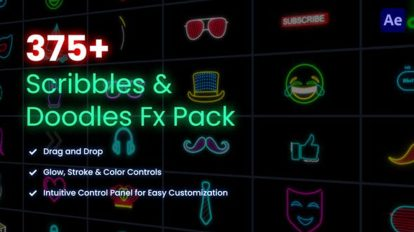 پروژه افترافکت مجموعه انیمیشن آیکون Scribbles Doodles FX Pack