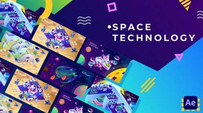 پروژه افترافکت بکگراند ایزومتریک تکنولوژی فضا Space Technology