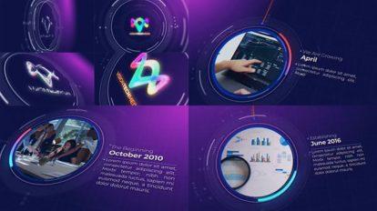 پروژه افترافکت تایم لاین شرکت فناوری Tech Company Timeline