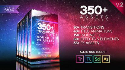 پروژه پریمیر مجموعه 350 ترانزیشن و عنوان با افکت صوتی