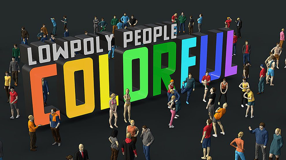 مجموعه مدل سه بعدی رنگی انسان Low Poly People Colorful