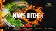 پروژه افترافکت نمایش منوی غذا رستوران Men's Kitchen Menu