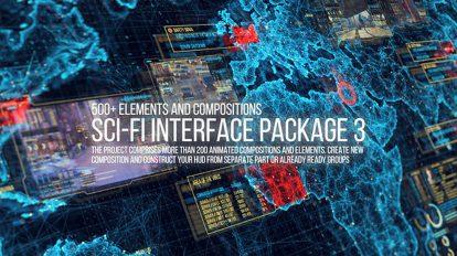 پروژه افترافکت اینفوگرافیک اجزای رابط کاربری Sci-Fi Interface HUD Package 3