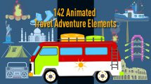 پروژه افترافکت مجموعه انیمیشن سفر Animated Travel Adventure Elements