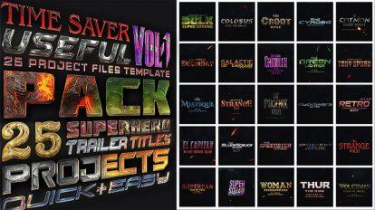 پروژه افترافکت نمایش عناوین قهرمانان کمیک Avengers Superheros Pack
