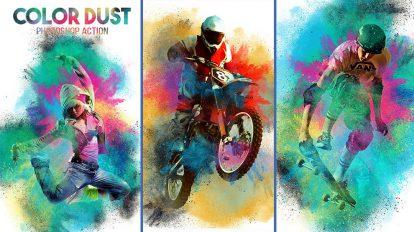 اکشن فتوشاپ افکت غبار رنگی Color Dust