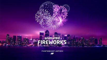 اکشن فتوشاپ انیمیشن آتش بازی GIF Animated Fireworks