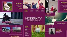 پروژه افترافکت مجموعه اجزای برودکست Modern TV Full Broadcast Pack