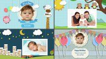 پروژه افترافکت آلبوم عکس تولد کودک Photo Baby Album