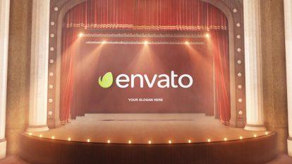 پروژه افترافکت نمایش لوگو در سالن نمایش Theatre Curtain Logo