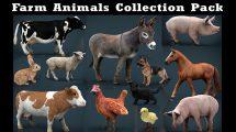 مجموعه مدل سه بعدی حیوانات مزرعه Farm Animals Collection Pack