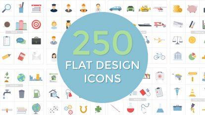 پروژه افترافکت انیمیشن آیکون فلت Flat Design Icons