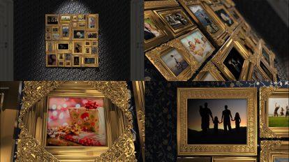 پروژه افترافکت گالری عکس با قاب طلایی Golden Frames Photo Gallery Kit