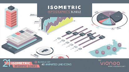 پروژه پریمیر اینفوگرافیک ایزومتریک Isometric Infographics Bundle