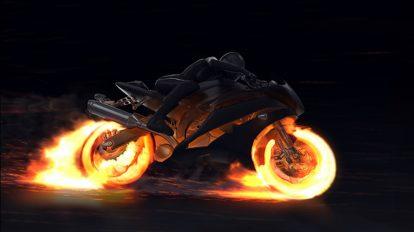 پروژه افترافکت نمایش لوگو با موتور سیکلت آتشین Motorcycle Fire Reveal