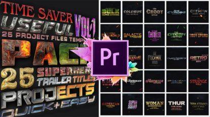 پروژه پریمیر نمایش عناوین قهرمانان کمیک Superheros Pack