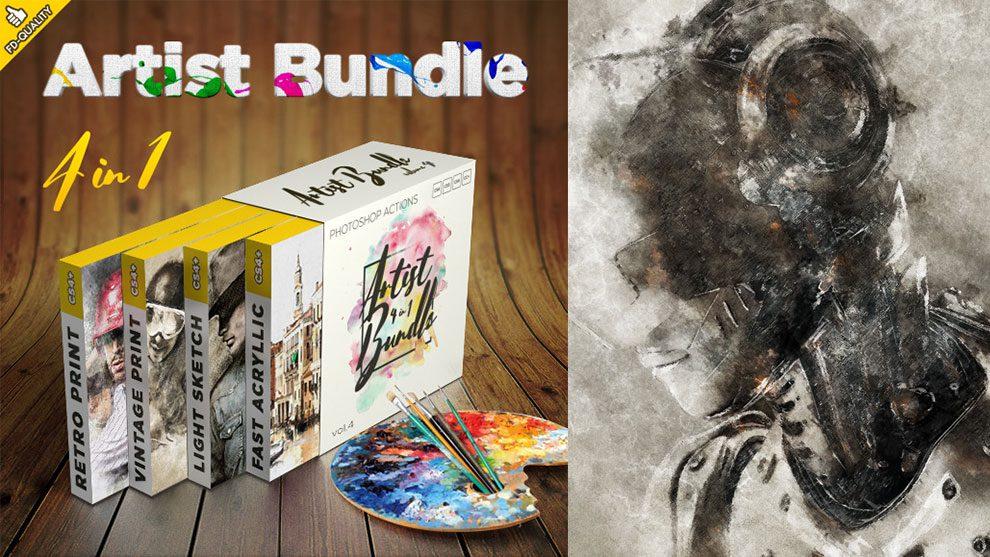 مجموعه باندل اکشن فتوشاپ هنری Artist 4 in 1 Bundle Vol.4