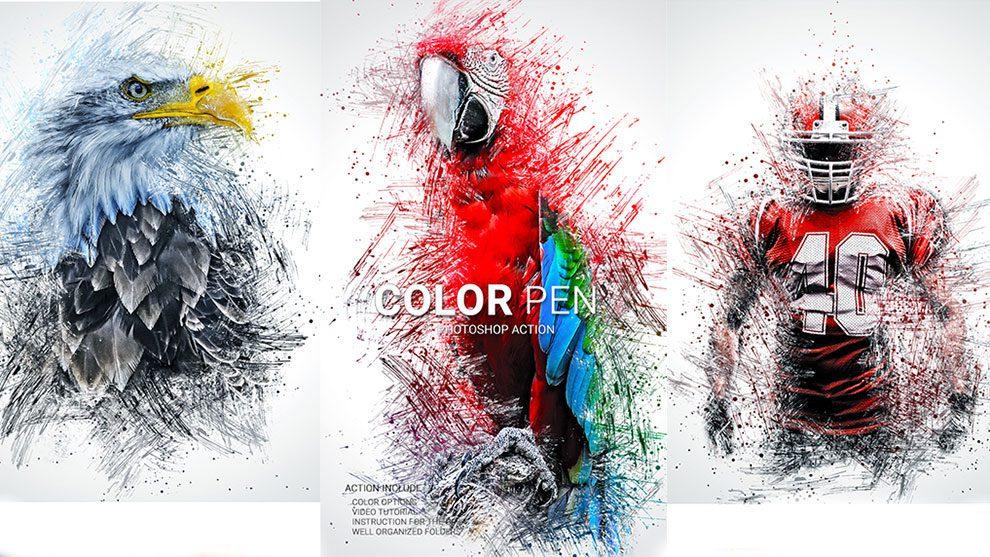 اکشن فتوشاپ خودکار رنگی Color Pen Photoshop Action