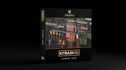 مجموعه مدل سه بعدی اجزای خیابانی Kitbash3D Props Street Side