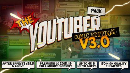 پروژه افترافکت ضروریات ویدیوی یوتیوب کمیک The YouTuber Pack Comic Edition