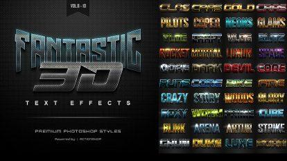 باندل افکت متن سه بعدی فتوشاپ 3D Text Effects Bundle 2