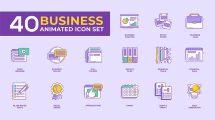 پروژه افترافکت مجموعه 40 انیمیشن آیکون کسب و کار Animated Business