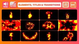 پروژه افترافکت افکت کارتونی آتشی Fire Elements