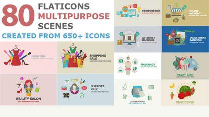 پروژه افترافکت موشن گرافیک فلت Flat Icons Multipurpose Scenes