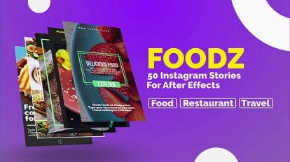 پروژه افترافکت مجموعه استوری اینستاگرام غذا Foodz Instagram Stories