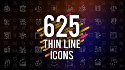 پروژه افترافکت مجموعه انیمیشن آیکون خطی Thin Line Icons