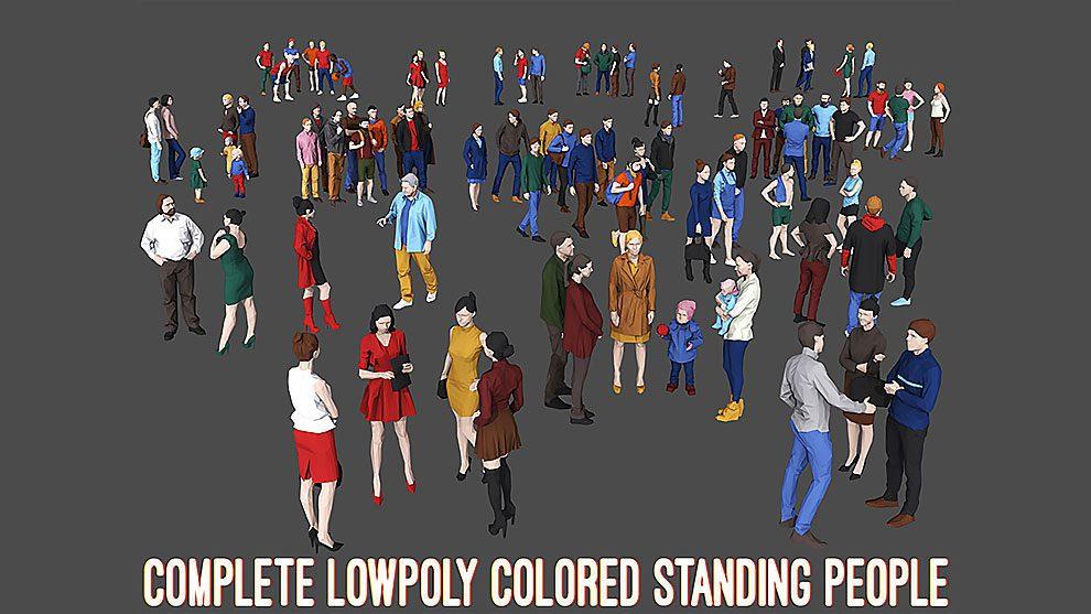 مجموعه مدل سه بعدی رنگی مردم Colored Low Poly Standing People