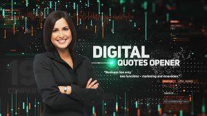 پروژه افترافکت افتتاحیه با نمایش نقل قول Digital Quotes Opener