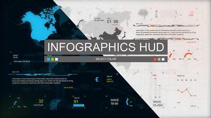 پروژه افترافکت مجموعه اجزای جامع اینفوگرافیک Infographics HUD Set 3