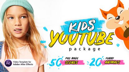 پروژه افترافکت اجزای ویدیویی برنامه کودک Kids Youtube Package