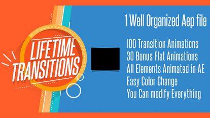 پروژه افترافکت مجموعه ترانزیشن Lifetime Transitions Pack
